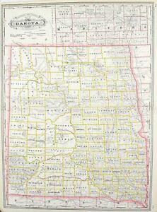 1887 Railroad and County Map of Dakoda North Dakota Antique