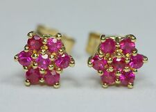 9ct Yellow gold Ruby Daisy Cluster Stud Earrings 0.42ct natural rubies