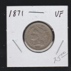 1871 Nickel Three Cents, VF