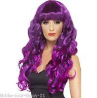 Women's Purple Siren Wigs 1980's Glamour Fancy Dress Wig Wonder Woman Hen Fun Do