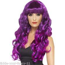 Womens Girls Purple Siren Wigs 80's Glamour Fancy Dress Outfit Wig Wonder Woman