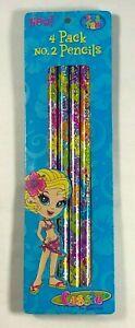 LISA FRANK # 2 Wood Pencils - 4 Pack - Cassie the Surfer Girl - Sparkle - Rare