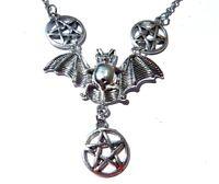 SILVER BAT & PENTAGRAMS PENDANT vampire wings pentacle occult necklace goth H6
