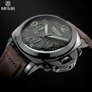Watch Luxury Military Top Quality Man Mégir Leather Date Chronograph Waterproof