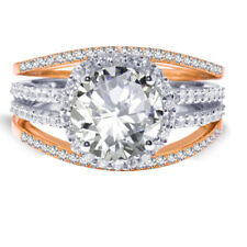 18k Rose Gold Plated Brilliant Clear Wedding Engagement Silver Ring Set 2.35 Ct
