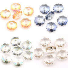 20/40Pcs Faceted Flower Shaped Czech Crystal Loose Charms Spacer Beads 10x4mm