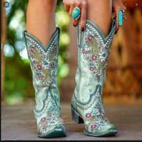 Women Round Toe Block Heels Floral Mid Calf Boots Floral embroidery Winter Shoes