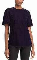 Lauren Ralph Lauren Womens Velvet Flutter-Sleeve Top 6 Purple