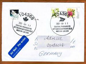 Kanada 2021 Bedarfsbrief Marken: Eisbär Blumen Obst Kirschen