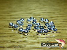 "25 PIECES TUNGSTEN BEAD HEADS SILVER 1/8"" 3.2mm - NEW FLY TYING MATERIALS"