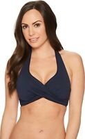 Seafolly - Core D-Cup 171962 Twist Halter Top (Indigo) Women's Swimwear Size 4