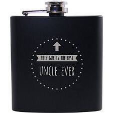 This guy is the best uncle ever - 6oz Black Flask - Great Gift for Birthday, or