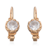 White Cubic Zirconia CZ Goldtone Lever Back Earrings Jewelry for Women 1.58 Ct
