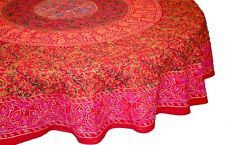 "Handmade Sanganer Floral Mandala 72"" Round 100% Cotton Tablecloth Gorgeous Red"