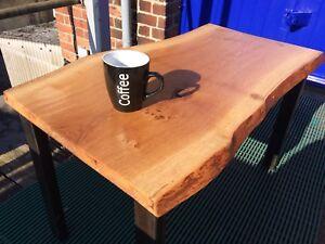 solid oak coffee table,reclaimed ,steel, bespoke hand made,industrial