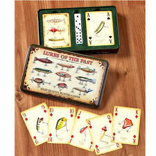 Antique Fishing Lures Themed Playing Cards Set Holder Case Dice Fisherman Gifts