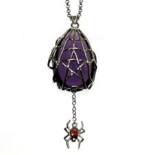 Spyder Star Crystal Keeper Spider Web Pendant Necklace Anne Stokes Silver Plate