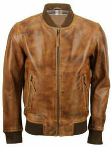 Mens Biker Motorcycle Vintage Distressed Brown Bomber Leather Jacket