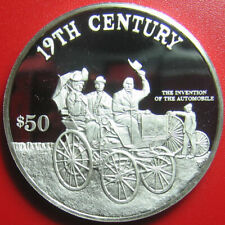1997 COOK ISLANDS $50 PROOF .95oz SILVER CAR AUTOMOBILE INVENTION 19th CENTURY