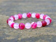 Fuchsia/Pink Agate Dyed Natural Gemstone Bracelet 7-8'' Elasticated Healing