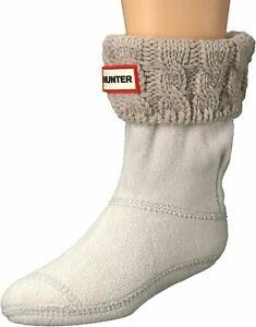 Hunter Kids Womens Original Half-Cardigan 6 Stitch Cable Boot Socks Griege L