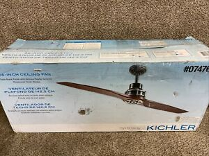 """NEW KICHLER Ceiling Fan 56"""" Satin Antique Pewter W/remote,Rosewood Finish Blade."""