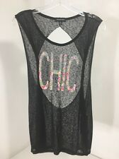 RAMPAGE WOMEN'S FLORAL CHIC GRAPHIC MUSCLE TANK TOP CAVIAR XL NWT