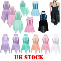 UK Kids Girls Sequins Ballet Dance Leotard Lyrical Tutu Dress Dancewear Costumes