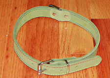 Green Suede Sueded Leather 50cm Big Dog Collar, Hand Made in USA, NEW