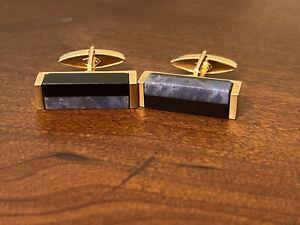 Vintage Swank Mens Gold Tone Cufflinks Blue & Black Stones