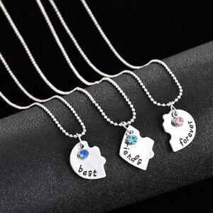 3Pcs Heart Love Pendant Best Friends Forever Neclaces Friendship Souvenir LI