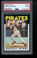 1986 Topps #525 Marvell Wynne Pittsburgh Pirates PSA 9 MINT SET BREAK!