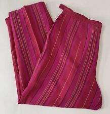 "Josephine Chaus Petite Womens Silk Pants Pink Striped Dress Slacks 32"" Waist 14"