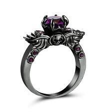 Purple Amethyst CZ Engagement skull Ring 10KT Black Gold Filled Wedding Size 8