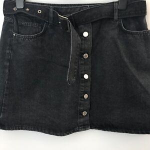 Black Denim Short Skirt With Black Belt Size UK 18 Length 17'' Button Front
