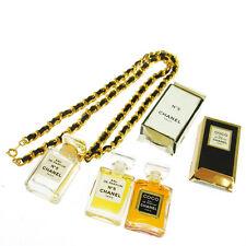 Authentic CHANEL Vintage CC Logos Gold Chain Perfume Pendant Necklace T04277