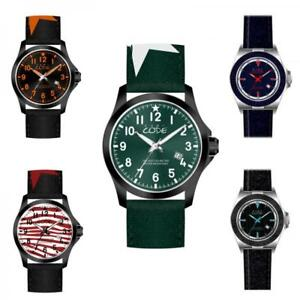 Mens Watch EVEN CODE Milano Leather Fabric 10 models Camouflage Military DD