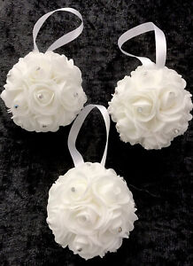 Set Of 6 White  Mini Foam Rose Flower And AB Rhinestone Baubles For Christmas