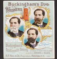 Buckinghams Whisker Dye Hair Cure Barber Supply Before & After Advertising Card