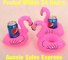 Pink Flamingo Can Bath Inflatable Mini Drink Holder Pool Party cup Toy X3