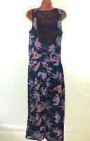 QUIKSILVER Premium navy blue floral print crochet insert maxi dress size M 12 40