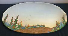 Heavy Vintage Deco Style Scalloped Edge Frameless Hand Painted Oval Wall Mirror