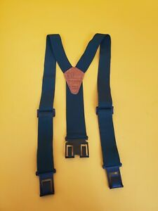 Perry Suspenders GREEN VINTAGE RARE ONE SIZE Workwear Adjustable Clip to Belt