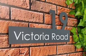 Modern Personalised House Sign Large Number & Street Name Floating Fixtures Inc