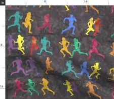 Running L Runners Jogging Gray Orange Yellow Fabric Printed by Spoonflower BTY