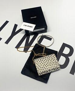 Saint Laurent White/ Black Polka-Dot Chain Card Case - RRP £750