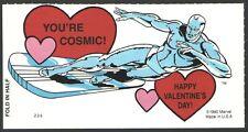 "Super Hero Valentine Card Silver Surfer   "" You're Cosmic""   Marvel 1990 UnUsed"