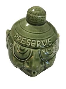 Vintage Retro Kitsch Mary-Leigh Pottery Ceramic Green Lidded Preserve Face Pot
