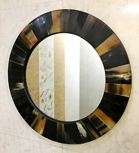Mirror Wall Hanging Bedroom Horn Inlay Frame Accessories Decorative Home Decor