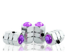 Purple Crystal Locking Chrome Tire Air Valve Stem Cap-C